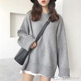 韓國chic慵懶風復古中長款純色長袖圓領套頭針織衫毛衣女寬鬆上衣  潮流前線