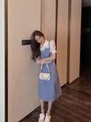 洋裝拼接格子收腰連身裙復古襯衫格子拼接假兩件連身裙1F-A130-B 韓依紡