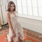 大尺碼睡衣 ~Annabery純白透視不規則裙襬二件式緞面睡衣女性衣著 爆款【SV6178】快樂生活網