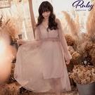 洋裝 點點荷葉兩件式長袖長洋裝-Ruby...