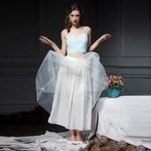 格紋無袖上衣+長裙(兩件套)-短版吊帶飄逸雪紡女裙裝73lk28【巴黎精品】