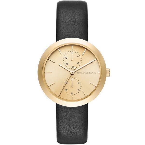MICHAEL KORS MK2574 美式金框雙環皮帶女錶x38mm 公司貨保固2年|名人鐘錶高雄門市