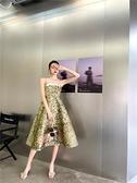2021春夏設計新款抹胸印花吊帶大擺小洋裝A字顯瘦洋裝 幸福第一站