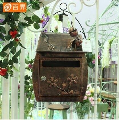 昆蟲古銅色歐式古典別墅信箱 田園復古掛牆帶鎖信報箱郵筒 防水室外郵箱
