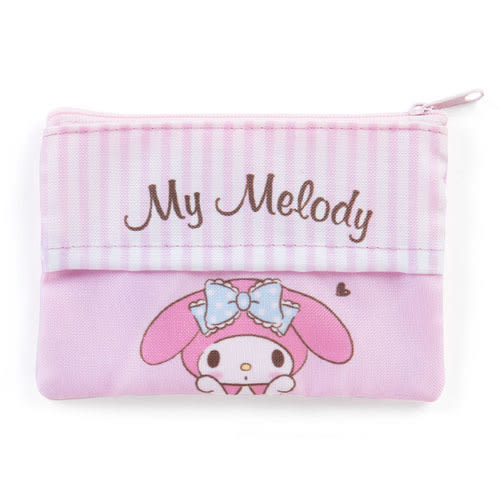 《Sanrio》美樂蒂可愛雙面圖案防潑水扁平面紙化妝包(大臉)_278432A