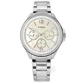 FOSSIL / ES4778 / 三眼三針 珍珠母貝 閃耀晶鑽 星期日期 不鏽鋼手錶 銀色 38mm