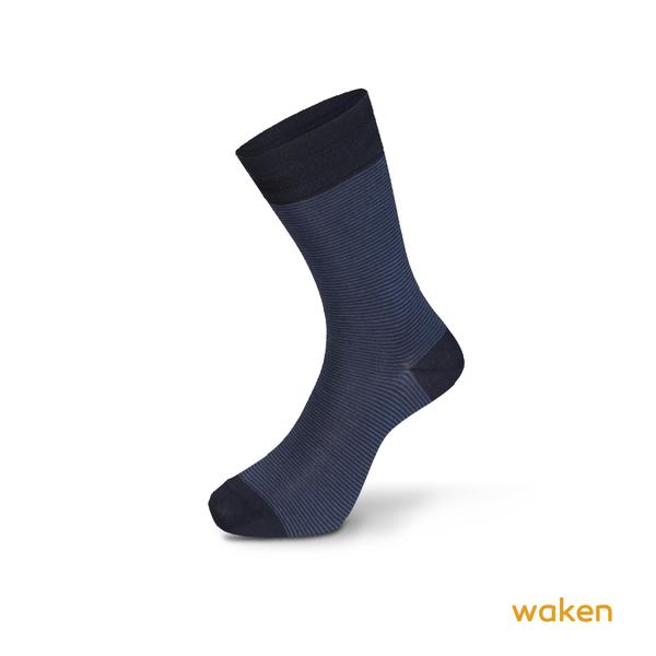 Waken  絲光棉條紋中筒休閒襪 / 襪子 紳士襪 中筒襪