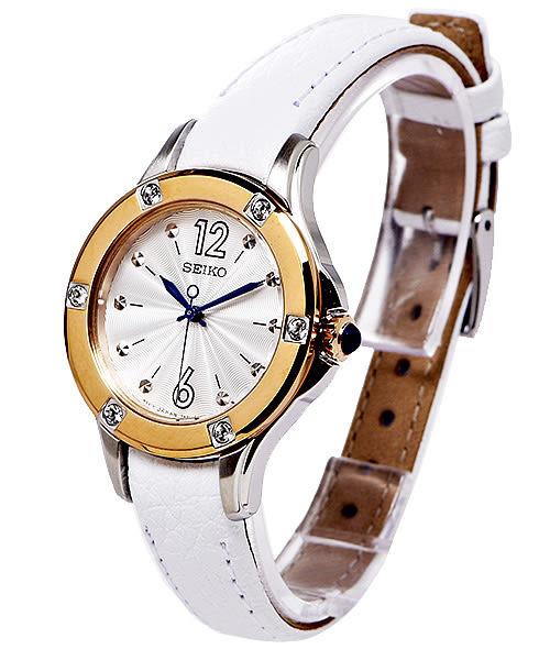 SEIKO 精工典雅玫瑰金水晶女性手錶(SRZ422P2)-銀白面x白色/30mm