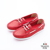 Travel Fox(女)Style夏的編織三角楦雙眼帆船鞋 - 陽光紅