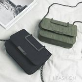 包包女2019新款金屬手提mini斜挎小方包韓版百搭翻蓋鏈條單肩包包-Ifashion