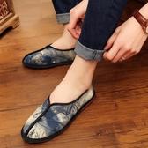 中國風低幫男士繡花布鞋 平底防滑休閒鞋帆布鞋單鞋子