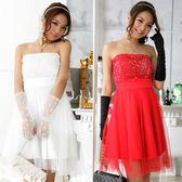 中大尺碼~收腰網紗玫瑰花末胸禮服連衣裙(配透明肩帶)(XL~3XL)