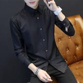 正韓長袖襯衫男士韓版秋季青少年修身型黑色襯衣潮男裝休閒商務衣服寸S-2XL