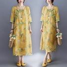 中式改良旗袍裙夏2021新款寬松文藝印花盤扣中長款斜襟棉麻連身裙洋裝