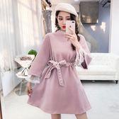 洋裝 韓版甜美半高領蕾絲拼接喇叭袖收腰系帶連身裙A字裙