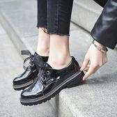 女牛津鞋 韓版女鞋子 新款學院風亮光復古女鞋厚底森系漆皮深口單鞋小皮鞋《小師妹》sm3558