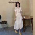 方領洋裝 雪紡連身裙女2021新款小個子高腰顯瘦約會赫本風收腰仙女裙夏 寶貝 免運