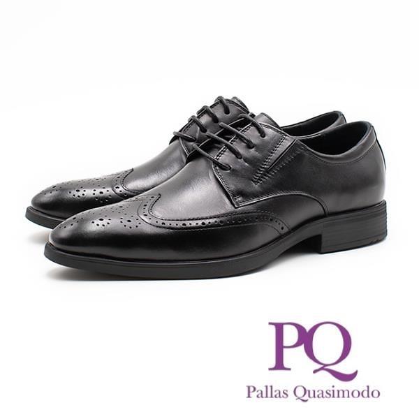 【南紡購物中心】PQ 都會紳士雕花綁帶皮鞋 男鞋 - 黑