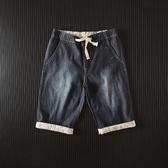 五分褲男 工廠余單夏季新品男士休閑簡約松緊抽繩薄款牛仔五分卷邊直筒短褲 交換禮物