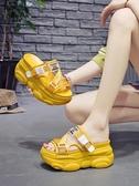 半拖鞋 厚底半拖女夏外穿時尚新款百搭網紅懶人超火鬆糕內增高涼拖鞋 瑪麗蘇
