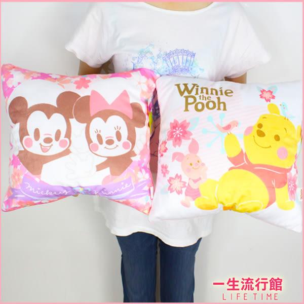 【限量櫻花方枕】迪士尼 米奇 小熊維尼 正版 方形枕 枕頭 抱枕 靠枕 B16350
