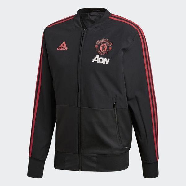 ADIDAS Manchester United 男裝 外套 立領 休閒 足球 曼聯 黑紅【運動世界】CW7628