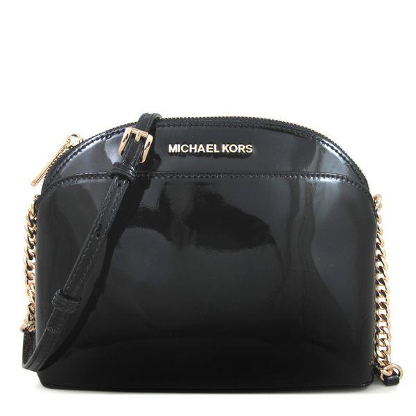 MK鏡面皮革前磁扣鏈帶斜背包