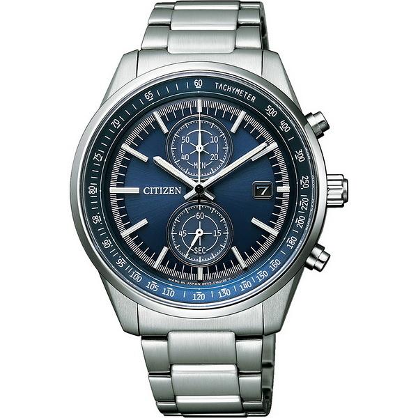 【台南 時代鐘錶 CITIZEN】星辰 光動能 雅痞質感計時腕錶 CA7030-97L 藍/銀 41mm