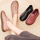 春季新款足意爾康中老年媽媽鞋真皮牛筋軟底舒適休閒單鞋老人皮鞋 韓國時尚週