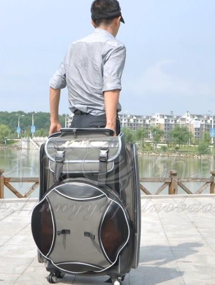 [協貿國際]  滑輪雙肩漁具包背包海桿包