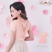 上衣 坑條後透膚刺繡蝴蝶美背針織短袖上衣-粉色-Ruby s露比午茶