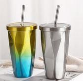 網紅水杯ins帶吸管的少女心成人創意大人不銹鋼保溫奶茶杯子帶蓋