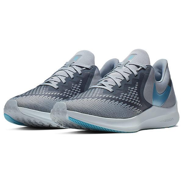 NIKE ZOOM WINFLO 6 男鞋 慢跑 馬拉松 氣墊 網布 灰 藍 【運動世界】AQ7497-400
