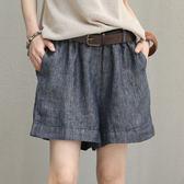 亞麻短褲 木耳邊 鬆緊腰 肥腿 闊口 休閒短褲 送腰帶-夢想家-0427