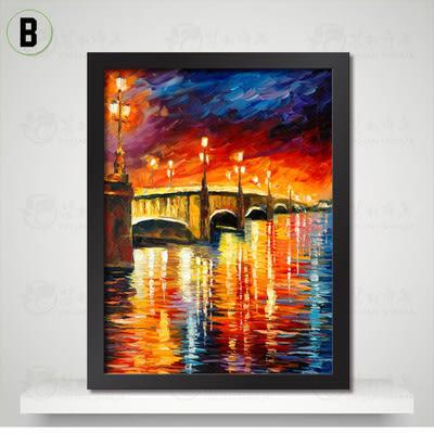 [銀聯網] 巴黎埃菲爾鐵塔裝飾畫客廳油畫(黑框) 1入