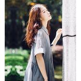 襯衫領sukol仙女裙chic少女寬鬆顯瘦中長款純色連身裙吾本良品
