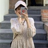 春裝2020韓版新款碎花學生初戀裙寬鬆長袖過膝中長款娃娃連衣裙女