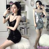 夏季新款性感夜店女裝低胸大露背吊帶裙子氣質包臀連身裙夜場禮服