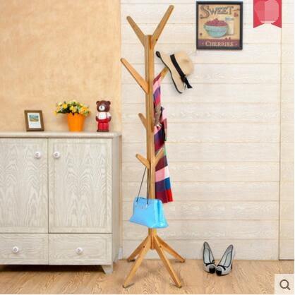 唯妮美樹杈懸掛臥室衣帽架創意家居歐式掛衣架簡易室內衣服架落地(本色)