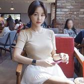 新款韓版修身針織短袖女夏冰絲t恤套頭緊身針織衫打底上衣潮 七夕節禮物 全館八折