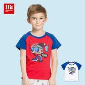JJLKIDS 男童 嘻哈音響人印花純棉短袖上衣 T恤(2色)