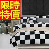 雙人床包組含枕頭套+棉被套+床罩-簡約黑白純棉四件套寢具組 6色65i8【時尚巴黎】