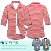 【OBIYUAN】出清不退換 襯衫 韓版 簡約 皮標 口袋 小方格 七分短袖上衣 共3色【F82070】