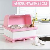 廚房碗筷收納盒帶蓋特大號瀝水排水碗碟架碗盒餐具加厚塑料碗柜吾本良品