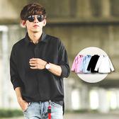 襯衫 韓系男友寬鬆版落肩素面長袖襯衫【NB0265J】
