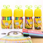 兒童節禮物軟頭水彩筆可水洗24色36色幼兒園小學生用兒童畫筆套裝安全無毒桶裝
