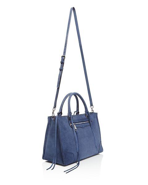 REBECCA MINKOFF REGAN SATCHEL 麂皮公事包 手提包 側肩包/斜背包 藍色