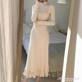 配大衣的長裙子女秋冬2020年新款修身長款過膝內搭毛衣針織洋裝 黛尼時尚精品