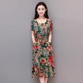 中老年女裝棉綢洋裝夏季短袖 中長款寬鬆媽媽裝大碼裙子40-50歲 XL-6XL