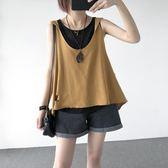 夏裝薄款韓版百搭寬鬆連帽無袖馬甲背心女短款時尚外搭破洞上衣潮  檸檬衣舍